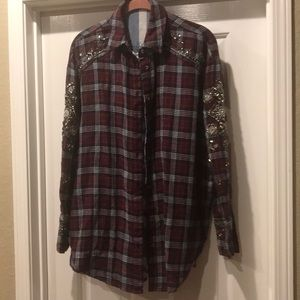 Free People flannel shirt with bling M / L